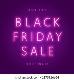 Black Friday Sale Neon Web Banner. Advertising Poster Template. Vector illustration