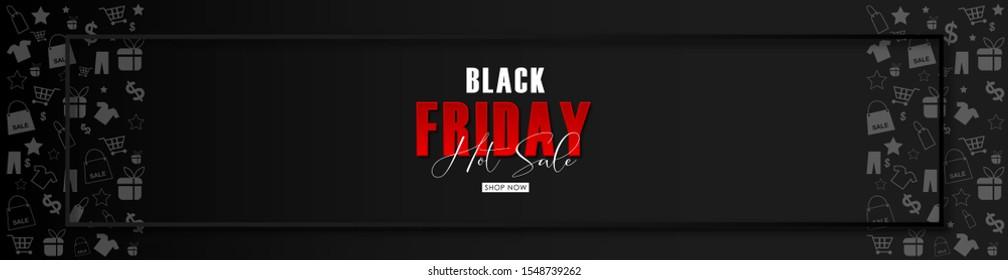 Black Friday sale on BLACK background.Vector illustration. web page,banner.