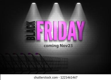 Black friday sale pink letters in spotlights on white brick wall in the dark shopping cart background. Shop discounts vector banner