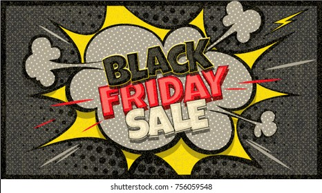 Black Friday Sale pop art cloud bubble. Season sale. Trendy Colorful vintage illustration background in retro comic style. Social media bubble. Explosion boom comic cloud. Editable for Your design.