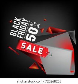 Black friday sale poster. 3d geometric poster design template for promotion. Glossy metal material style.