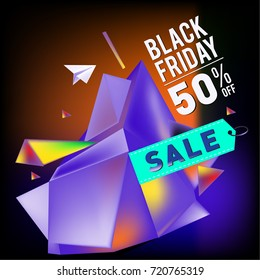 Black friday sale poster. 3d colorful geometric poster design template for promotion. Glossy metal and plastic material style.