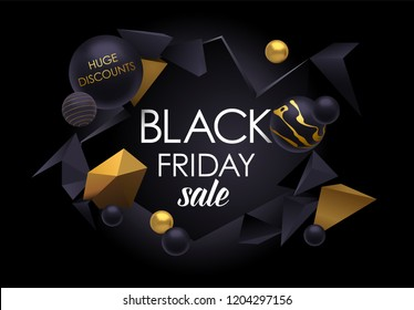 Black Friday sale poster with abstract elements, black and gold, eps10 vector