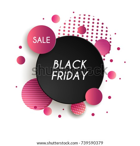 0a38159494 Black friday sale poster. Black Friday background with black circles and  red ribbon. Vector illustration. Poster