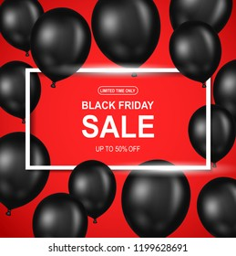 Black Friday sale poster with black balloon on red background. Vector illustration