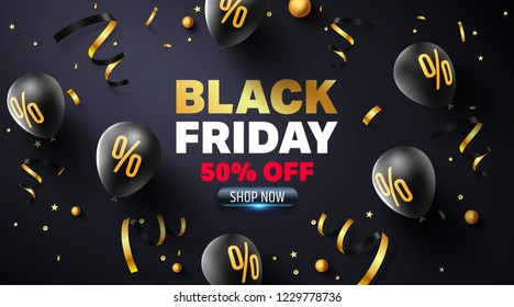 Black Friday Sale Poster with black balloons for Retail,Shopping or Black Friday Promotion in golden and black style.Vector illustration EPS10