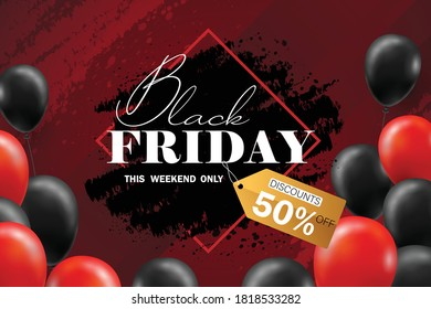 Black Friday Sale Poster with black balloons for Retail, Shopping, or Black Friday Promotion style