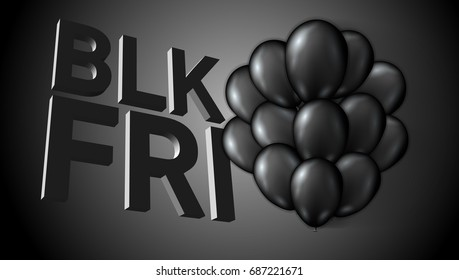 Black Friday Sale Poster Balloons Template. EPS10 Vector