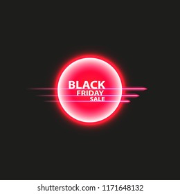 Black Friday sale poster or banner. Glowing colorful circle with red light effect on black abstract background. Design template for shopping