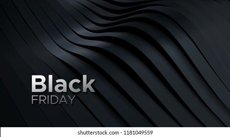 Black Friday sale poster. Commercial discount event banner. 3d dynamic sliced black surface. Abstract background. Vector business illustration. Ads sign.