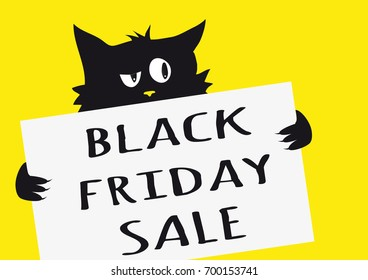 Black friday sale poster with black cynical cat on yellow background and one sign with text Black friday sale