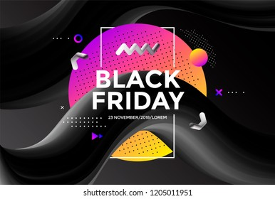Black Friday sale poster design with Creative design 3d flow shape. Vector trendy illustration