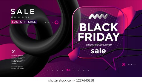 Black Friday sale poster design with 3d flow shape and speech bubble. Vector trendy illustration