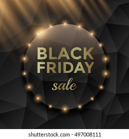 Black Friday sale poster design with black triangle background and gold text.