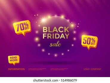 Black Friday sale poster design with purple background and gold text. Vector banner discount