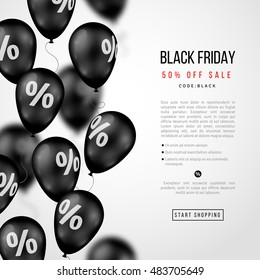 Black Friday Sale Poster. Glossy Balloons with Percent Sign on White Background. Vector illustration.