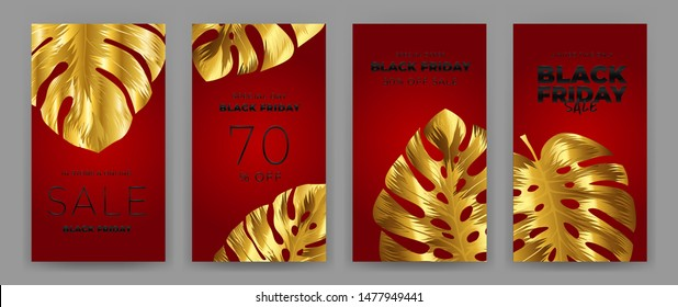 Black Friday Sale Poster with motifs gold leaf monstera on red background. Design in the style of wealth and luxury. Everything built on layers. File has clipping path. Vector backgrounds.