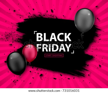 7a6f54cfbe Black Friday Sale Poster. Seasonal discount banner with pink and black  balloons
