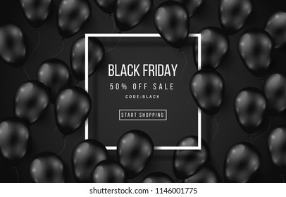 Black Friday Sale Poster with Shiny Balloons on Dark Background with Square Frame. Vector illustration.