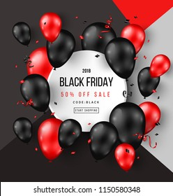 Black Friday Sale Poster with Shiny Balloons and Confetti on Modern Geometric Background with Round Frame. Vector illustration.
