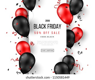 Black Friday Sale poster with shiny balloons, confetti and vertical frame. Vector illustration.