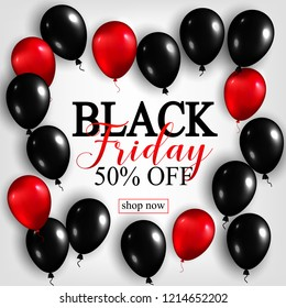 Black Friday Sale Poster with Shiny Balloons on White Background. Vector illustration