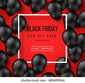 Black Friday Sale Poster with Shiny Balloons on Red Background with Square Frame. Vector illustration.
