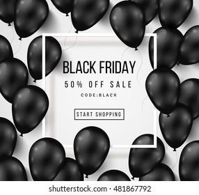 Black Friday Sale Poster mit glänzenden Balloons auf weißem Hintergrund mit quadratischem Rahmen. Vektorgrafik.
