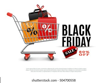 Black friday sale poster with shopping cart and bags for clothing isolated vector illustration