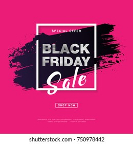 Black Friday Sale Poster with silver text on grunge brush stroke. Modern concept for cover design. Shopping discount promotion. Banner for business, promotion and advertising. Vector illustration.