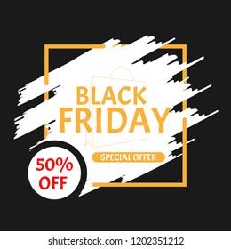 Black Friday Sale Poster special offer on black Background with square frame. Vector illustration.