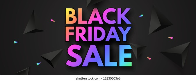 Black Friday Sale poster template. Super offer. 3D triangles and neon rainbow gradient effect.