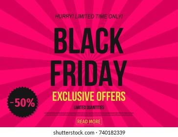 Black Friday  sale poster template on pink background. Limited time only. Exclusive offer banner: 50% off. Vector illustration.