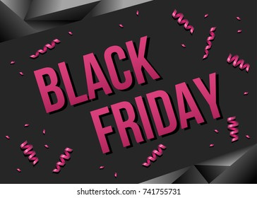53423b593e Black Friday sale poster template with pink ribbons serpentine. Vector  background for discount and special