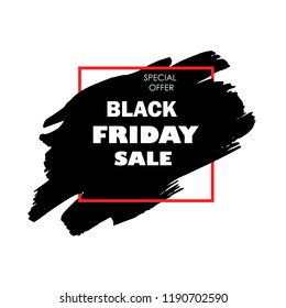 Black Friday Sale Poster with white text on grunge red brush stroke. Acrylic grunge paint brush stroke. Shopping discount promotion. Banner for business, promotion and advertising. Vector illustration