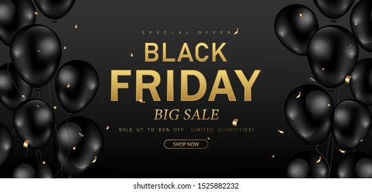 Black Friday sale poster,banner decorated with shiny balloons ,confetti design on black background. Vector illustration.