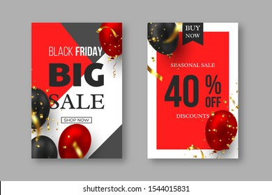 Black Friday sale posters. 3d red and black realistic glossy balloons with golden serpentine. Grey, white and red background. Vector illustration.