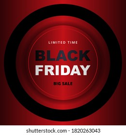Black friday sale promotion banner. Black friday metallic red sale banner template.