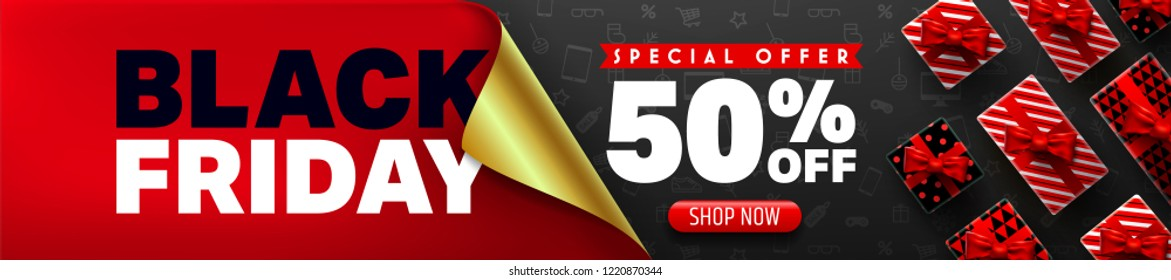Black Friday Sale Promotion Poster or banner with open gift wrap paper concept.Special offer 50% off sale in black and red style.Promotion and shopping template for Black Friday