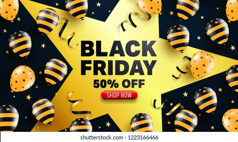 Black Friday Sale Promotion Poster or banner with balloons  concept.Special offer 50% off sale in black and golden color style.Promotion and shopping template for Black Friday