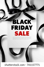 Black Friday sale promotional poster with silk bow