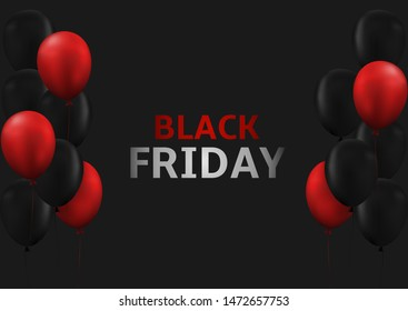Black Friday. Black Friday sale, black and red balloons background