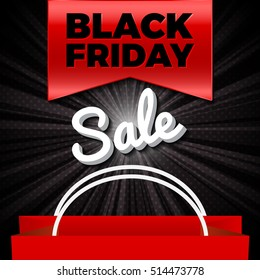 Black Friday Sale Ribbon With Bag On Light Background