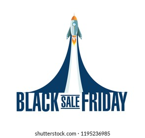 Black Friday sale rocket smoke message illustration isolated over a white background