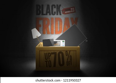 Black friday sale shop discounts vector banner. Wood shopping box of some bought items in spotlight on dark grunge brick wall background