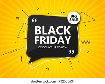 Black Friday sale, shopping poster. Seasonal discount banner - black speech bubble on radial yellow background. Design template for advertising shopping, flyer, closeout on thanksgiving day