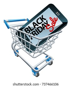 A Black Friday sale sign on a mobile phone in a supermarket shopping cart trolley
