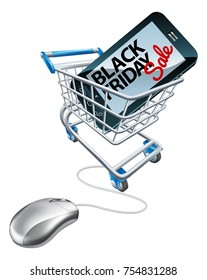 A Black Friday sale sign on a mobile phone screen in a shopping supermarket cart trolley with a computer mouse attached. Concept for online offers promotion.