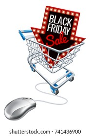 A Black Friday sale sign in a shopping supermarket cart trolley with a computer mouse attached. Concept for online promotion.