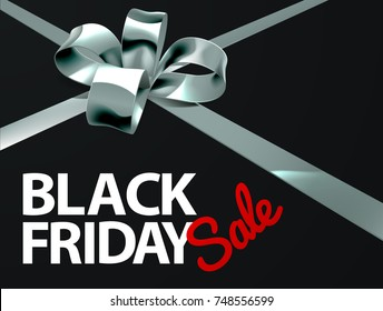 A Black Friday Sale sign with a silver gift present ribbon and bow